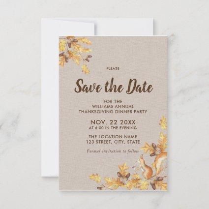 Rustic Acorns Oak Birch Thanksgiving Save the Date