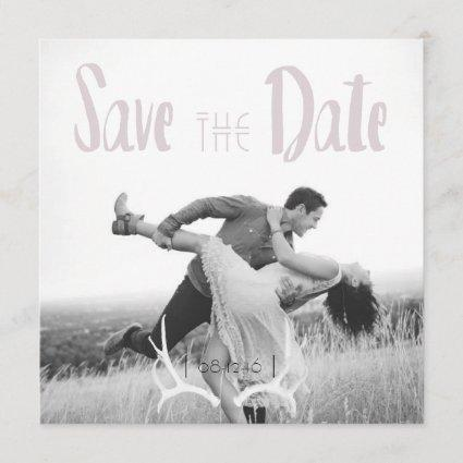Rustic Antler Art Graphic Square Save the Date