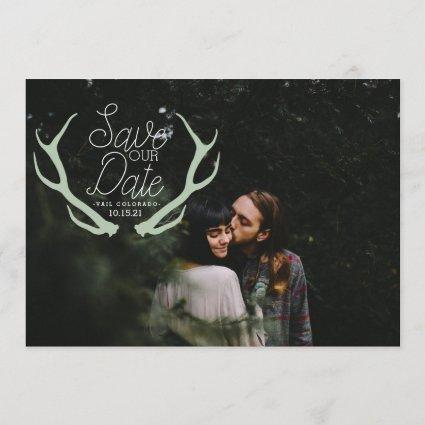 Rustic Antler Save the Date