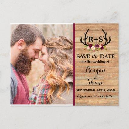 Rustic Antlers Floral Burgundy Wood Save The Date Announcement