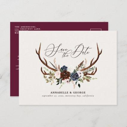 Rustic antlers script navy burgundy floral wedding announcement