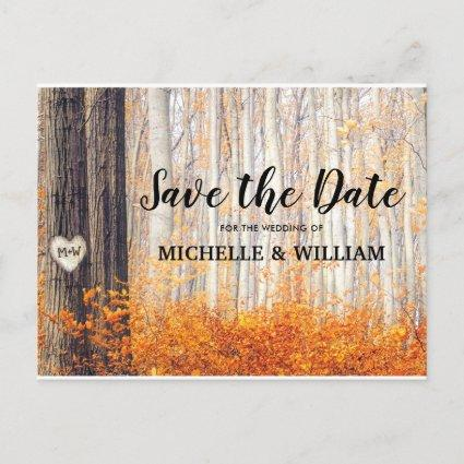 Rustic Autumn Fall Leaves Save the Date Announcement
