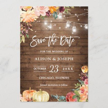Rustic Autumn Floral String Lights Save the Date Invitation