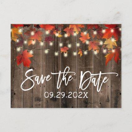 Rustic Autumn Leaves Fall Wedding Save the Date Announcement