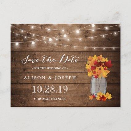 Rustic Autumn Leaves String Lights Save the Date Announcements Cards