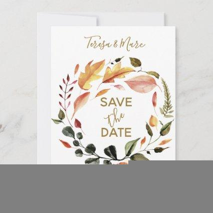 Rustic Autumn Tones Watercolor Floral Pattern Save The Date
