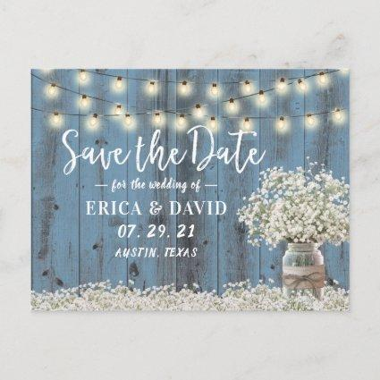 Rustic Baby's Breath Dusty Blue Save the Date Announcement