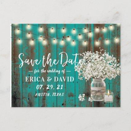 Rustic Baby's Breath Jar Teal Wood Save the Date Announcement