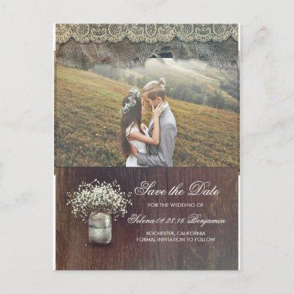 Rustic Baby's Breath Mason Jar Photo Save the Date Announcement