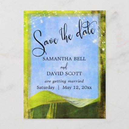 Rustic Banana Leaf w/ Lights Boho Save the Date Announcement