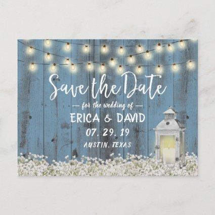 Rustic Barn Lantern Dusty Blue Save the Date Announcement