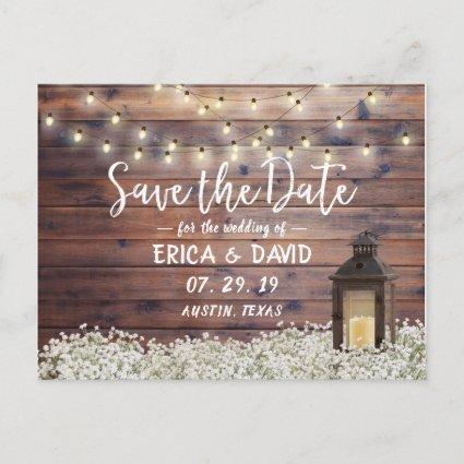 Rustic Barn Lantern String Lights Save the Date Announcement