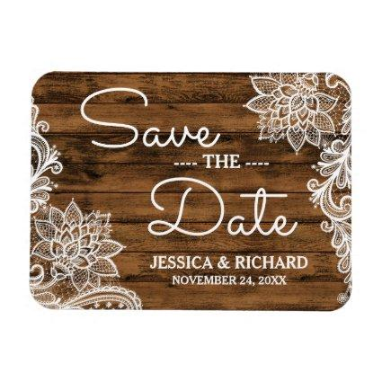 Rustic Barn Wood and Lace | Save the Date Magnet
