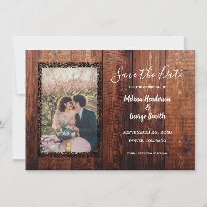 Rustic barn wood photo country wedding save the date