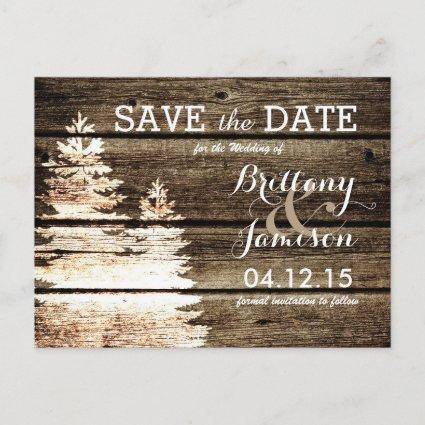 Rustic Barn Wood Pine Trees Winter Save the Date Announcement