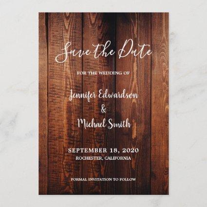 Rustic barn wood script country Save the Date Invitation