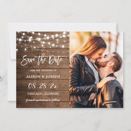 Rustic Barn Wood String Lights Wedding Photo Save The Date