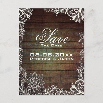 rustic barnwood lace country wedding save the date announcement