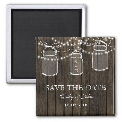 Rustic Barnwood mason jar save the Date Magnets