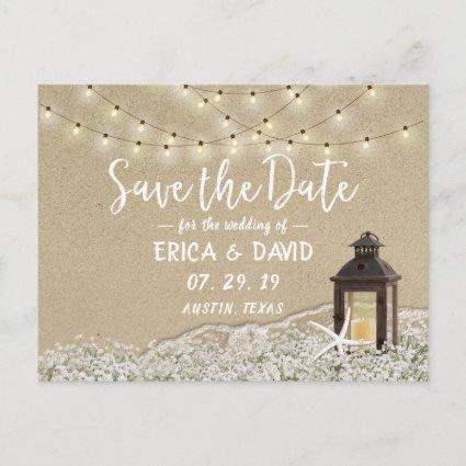 Rustic Beach Lantern String Lights Save the Date Announcement