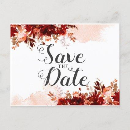 Rustic Beauty Floral Watercolor Save the Date Announcement