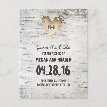 Rustic Birch Bark Heart save the date Announcements Cards