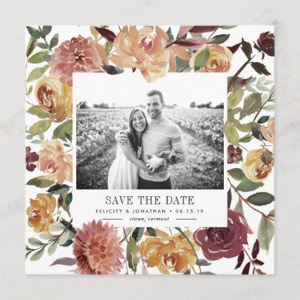 Rustic Bloom Photo Save the Date Cards