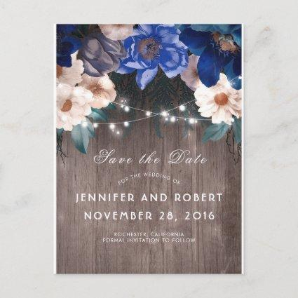 Rustic Blue Floral Lights Barn Save the Date Announcement