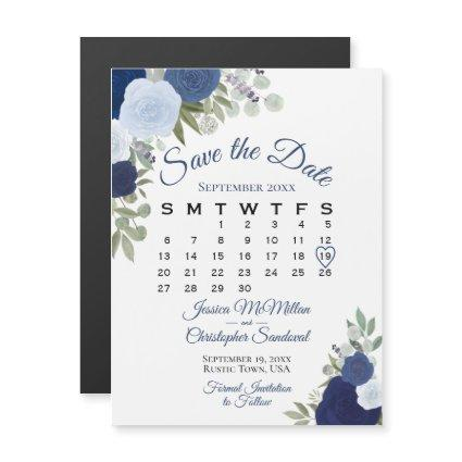 Rustic Blue Floral Wedding Save the Date Calendar Magnetic Invitation