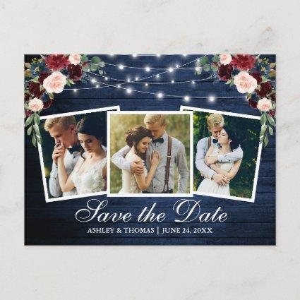 Rustic Blue Wood Floral 3 Photo Save The Date Invitation