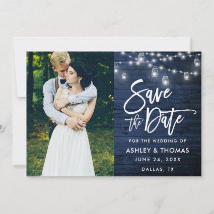 Rustic Blue Wood Jar Lights Brush Script Photo Save The Date