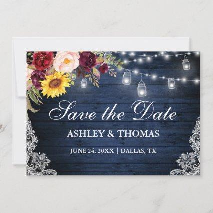 Rustic Blue Wood Jar Lights Mixed Floral Lace Save The Date
