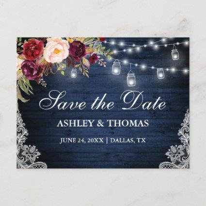 Rustic Blue Wood Lights Jars Floral Save the Date Announcement