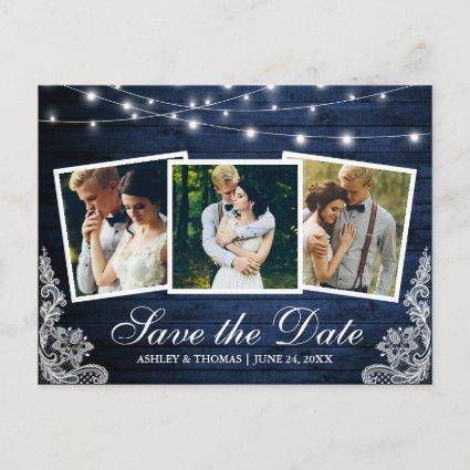 Rustic Blue Wood Lights Lace 3 Photo Save The Date Invitation