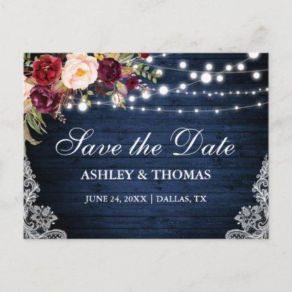 Rustic Blue Wood Lights Lace Floral Save the Date Announcement