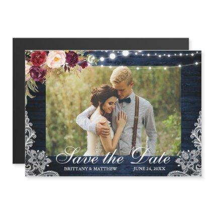 Rustic Blue Wood Lights Lace Photo Save the Date Magnetic Invitation