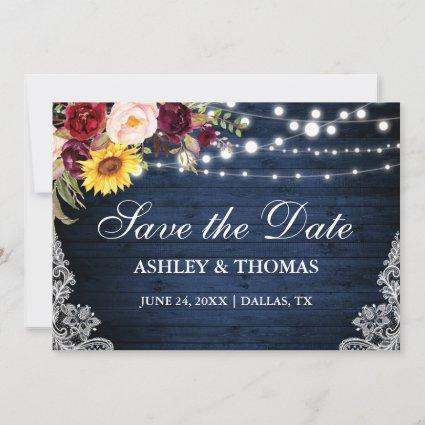 Rustic Blue Wood Lights Mixed Floral Lace Save The Date