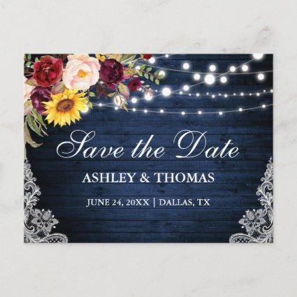 Rustic Blue Wood String Lights Lace Floral Announcement