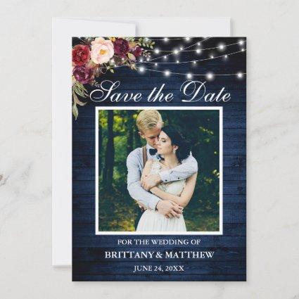 Rustic Blue Wood Watercolor Burgundy Floral Lights Save The Date