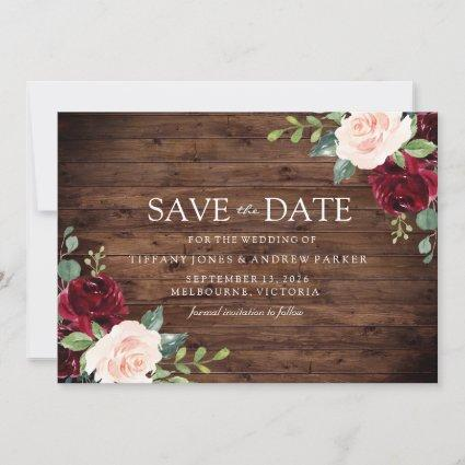 Rustic Blush: Burgundy Blush Floral Watercolor Save The Date