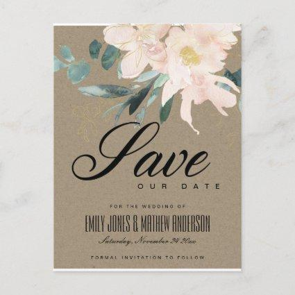 RUSTIC BLUSH FLORAL KRAFT WATERCOLOR SAVE THE DATE ANNOUNCEMENT