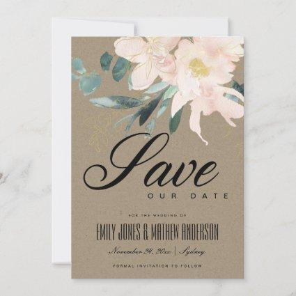 RUSTIC BLUSH GOLD FLORAL BUNCH KRAFT WATERCOLOR SAVE THE DATE