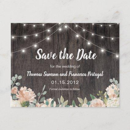 Rustic Bohemian String Lights Floral Save the Date