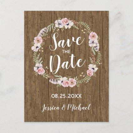 Rustic Boho Wood Floral Save the Date Cards