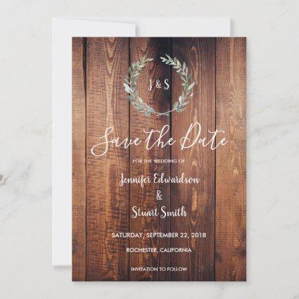 Rustic Botanical watercolor leaves Save the Date