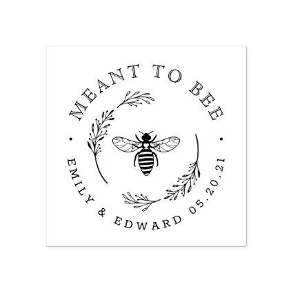 Rustic Botanical Wreath Meant to Bee Wedding Favor Rubber Stamp