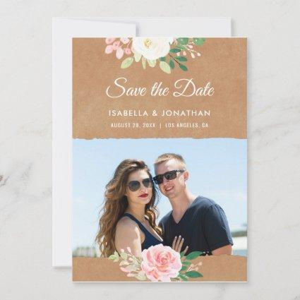 Rustic Brown Kraft Pink Rose Floral Photo Frame Save The Date
