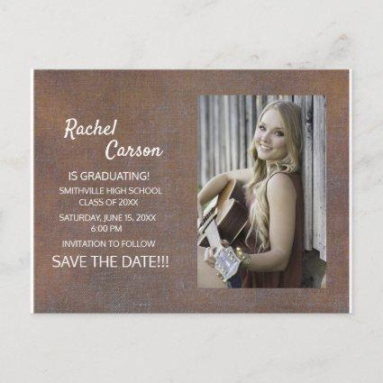 Rustic Brown Save the Date Photo Graduation Announcements Cards