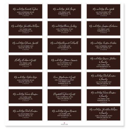 Rustic Brown & White Wedding Guest Address Labels