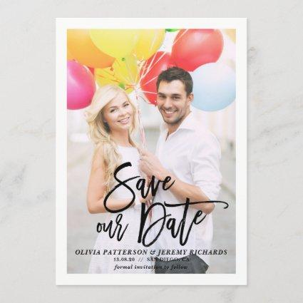Rustic Brush Hand Lettering Photo Save Our Date Save The Date